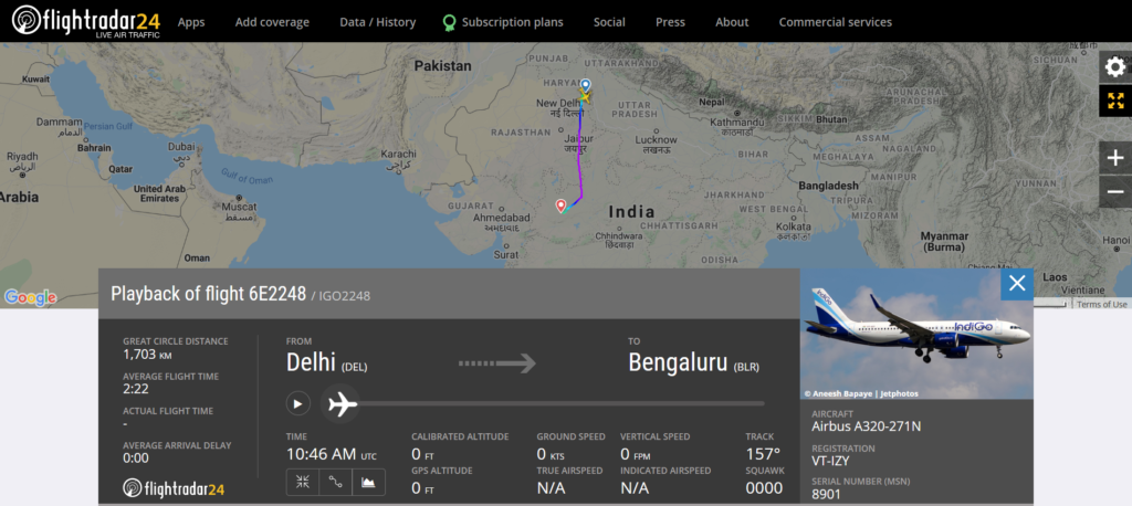 IndiGo flight 6E2248 from Delhi to Bengaluru diverted to Indore due to a medical emergency