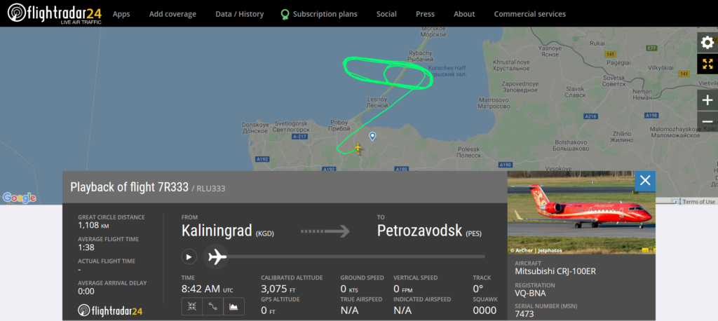 Rusline flight 7R333 from Kaliningrad to Petrozavodsk returned to Kaliningrad because landing gear could not retract