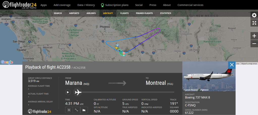 Air Canada flight AC2358 from Marana to Montreal diverted to Tucson due to an engine issue