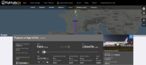 Air France flight AF926 from Paris to Libreville declared an emergency (squawk 7700) and returned to Paris due to a landing gear alarm
