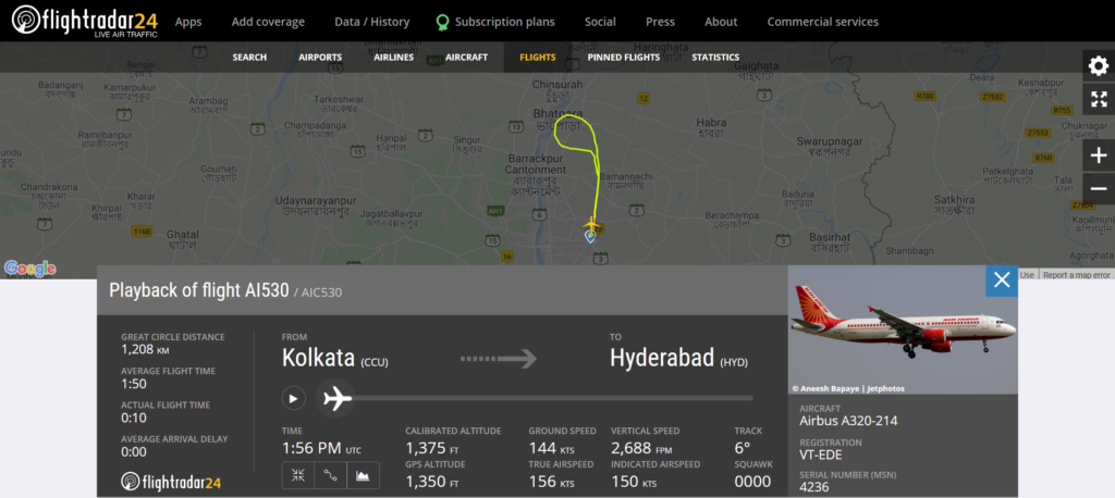 Air India flight AI530 from Kolkata to Hyderabad returned to Kolkata due to a technical issue
