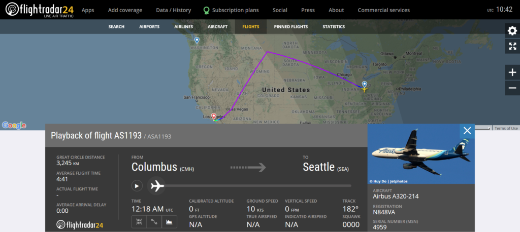 Alaska Airlines flight AS1193 from Columbus to Seattle diverted to Los Angeles due to a mechanical issue