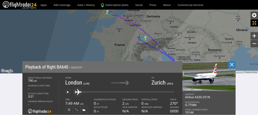 British Airways flight BA640 from London to Athens diverted to Zurich due to a medical emergency