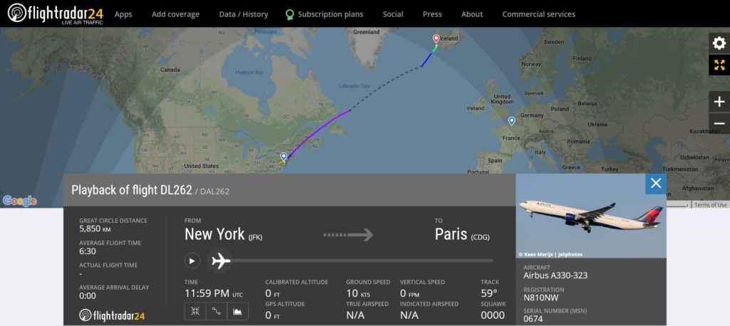 Delta Air Lines flight DL262 from New York to Paris diverted to Reykjavik due to an engine issue
