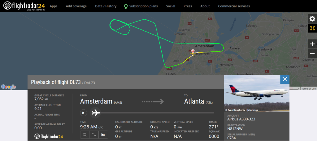 Delta Air Lines flight DL73 from Amsterdam to Atlanta returned to Amsterdam due to a landing gear issue