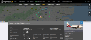 Eurowings flight EW9463 from London to Dusseldorf returned to London due to a possible engine issue