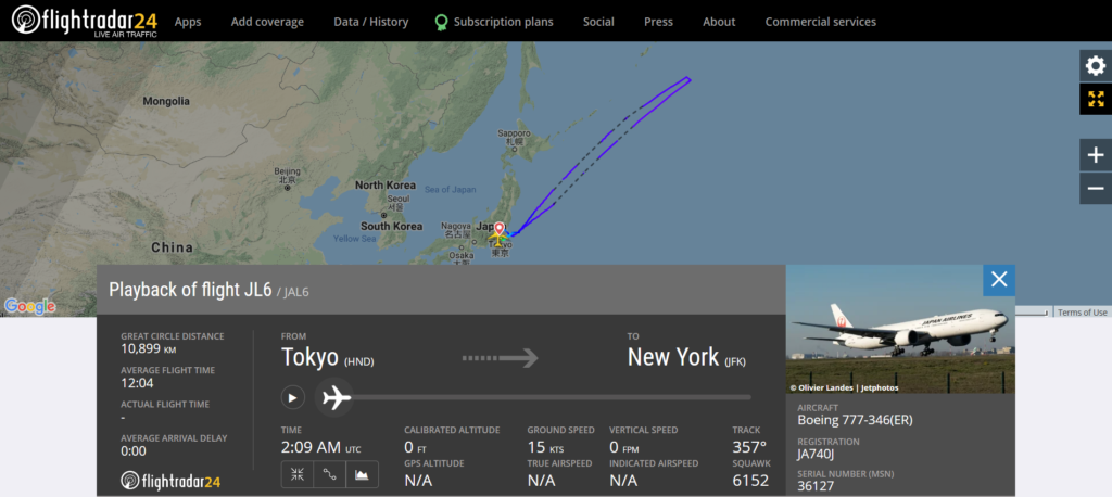 Japan Airlines flight JL6 from Tokyo to New York returned to Tokyo due to an engine issue