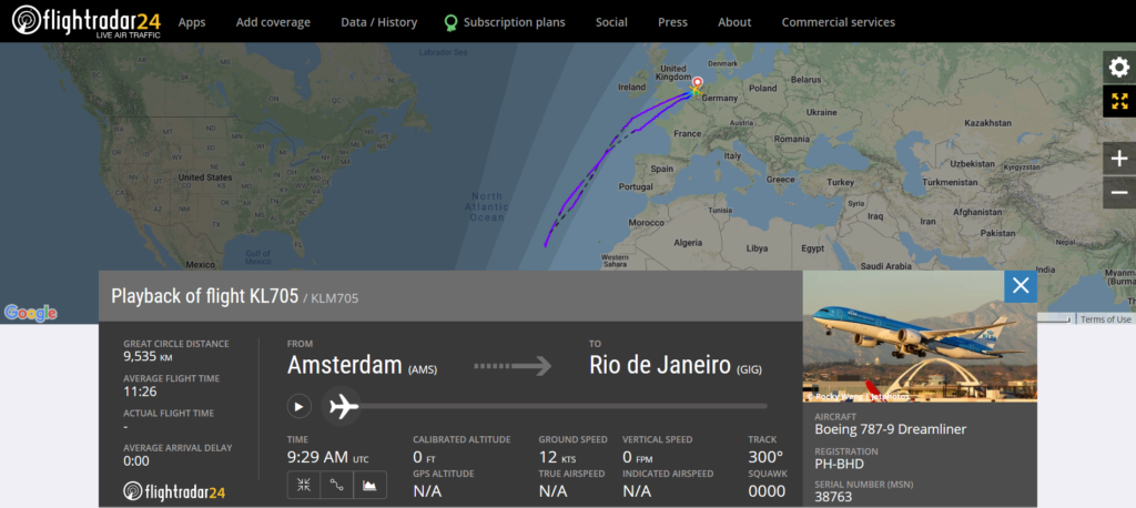 KLM flight KL705 from Amsterdam to Rio de Janeiro returned to Amsterdam due to a cracked windshield