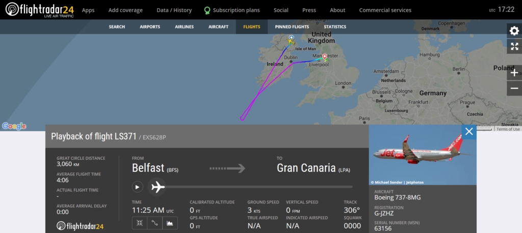 Jet2 flight LS371 from Belfast to Gran Canaria diverted to Manchester due to a disruptive passenger
