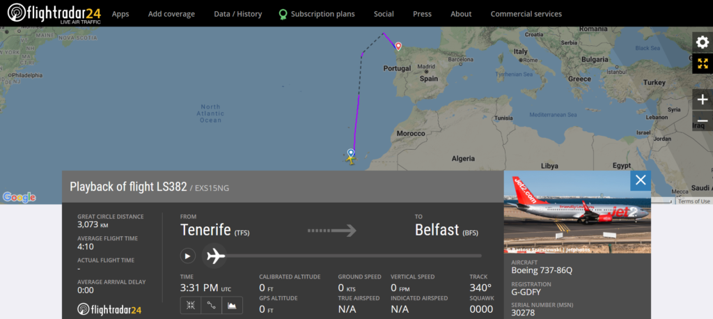 Jet2 flight LS382 from Tenerife to Belfast diverted to Santiago de Compostela due to a medical emergency