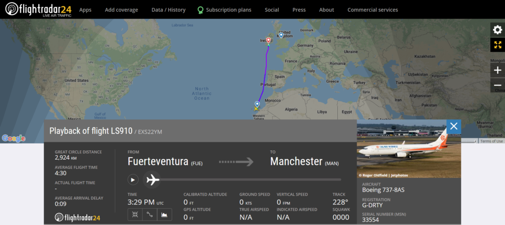 Jet2 flight LS910 from Fuerteventura to Manchester diverted to Cork due to an unruly passenger