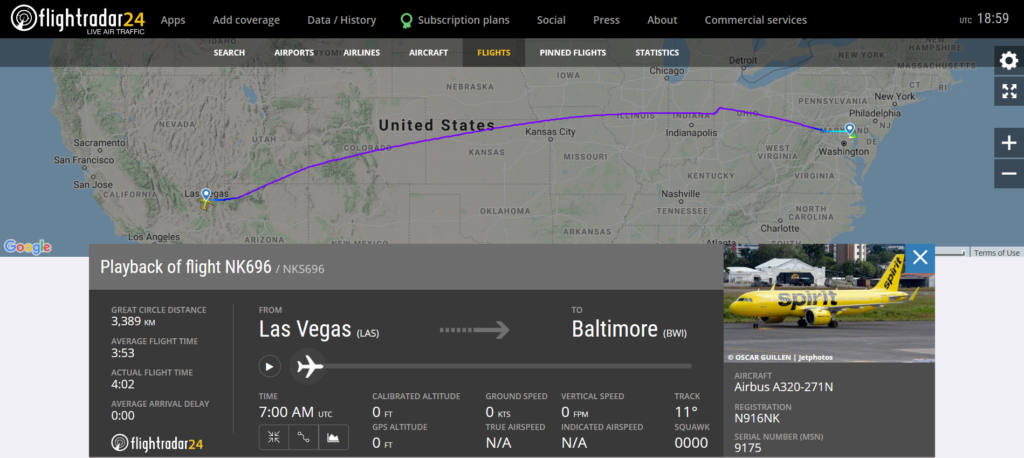 Spirit Airlines flight NK696 from Las Vegas to Baltimore skidded off a taxiway after landing