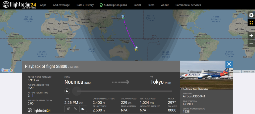 Aircalin flight SB800 from Noumea to Tokyo experienced flaps issue