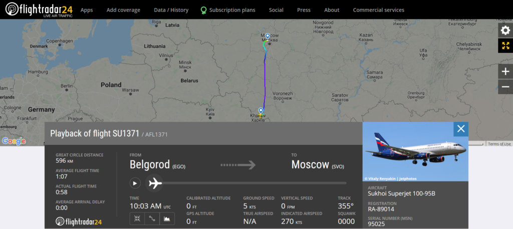 Aeroflot flight SU1371 from Belgorod to Moscow experienced technical issue