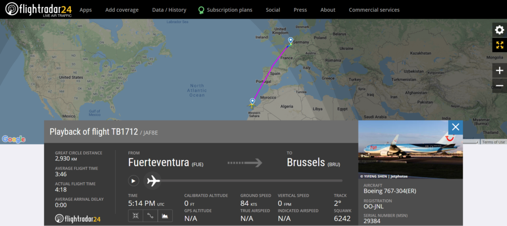TUI fly Belgium flight TB1712 from Fuerteventura to Brussels reported a flaps issue