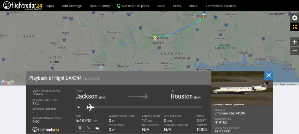 United Airlines flight UA4344 from Jackson to Houston diverted to Alexandria due to a security issue