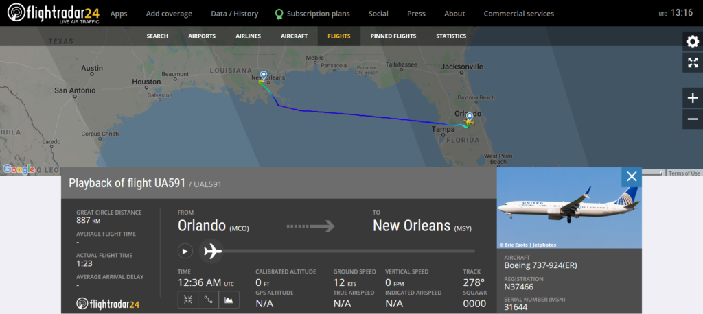 United Airlines flight UA591 from Orlando to Los Angeles diverted to New Orleans due to a medical emergency