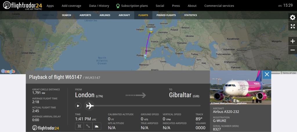 Wizzair flight W65147 from London to Gibraltar on final approach suffered a bird strike