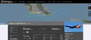Southwest Airlines flight WN1278 from Honolulu to Oakland returned to Honolulu due to an unusual noises from windshield