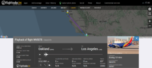 Southwest Airlines flight WN5078 from Oakland to Los Angeles experienced an anti-skid issue