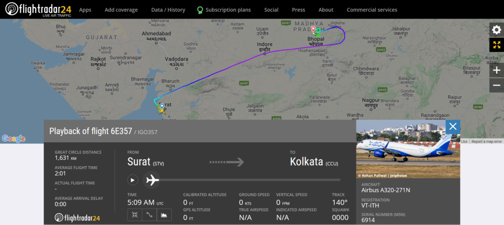 IndiGo flight 6E357 from Surat to Kolkata diverted to Bhopal due to a technical issue