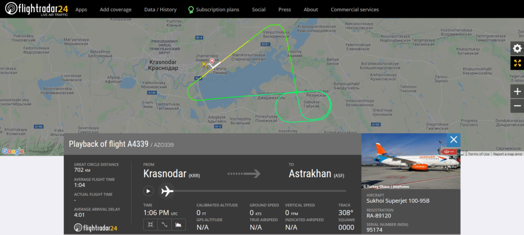 An Azimuth flight A4339 from Krasnodar to Astrakhan returned to Krasnodar due to a technical issue