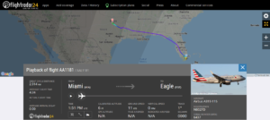 American Airlines flight AA1181 from Miami to Eagle diverted to Dallas Fort Worth due to a hydraulic issue