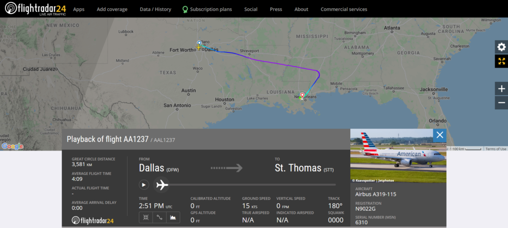 American Airlines flight AA1237 from Dallas to St. Thomas diverted to New Orleans due to fuel leak indication