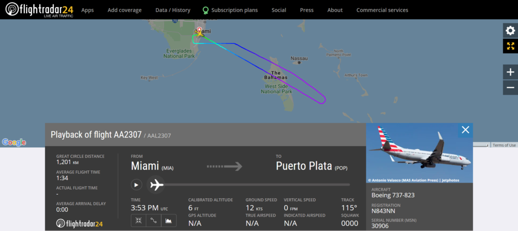 American Airlines flight AA2307 from Miami to Puerto Plata returned to Miami due to a fuel system issue