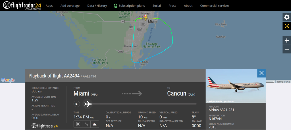 American Airlines flight AA2494 from Miami to Cancun returned to Miami due to an engine oil leak