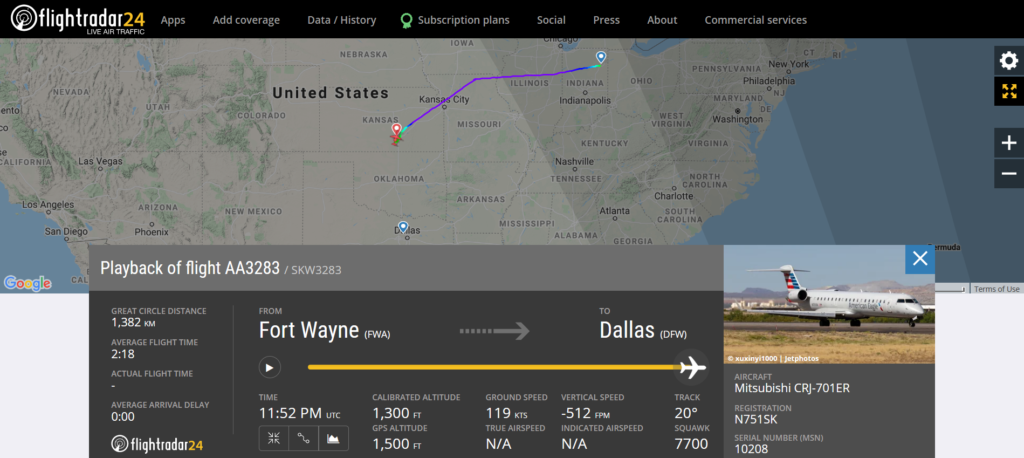 American Airlines flight AA3283 from Fort Wayne to Dallas declared an emergency (squawk 7700) and diverted to Wichita