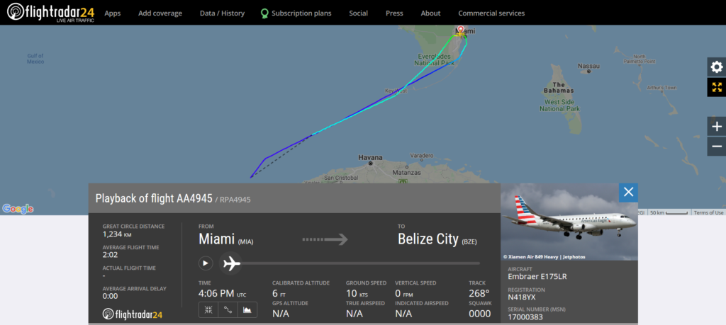 American Airlines flight AA4945 from Miami to Belize City returned to Miami due to a pressurisation issue