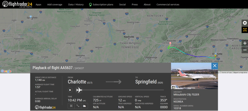 American Airlines flight AA5637 from Charlotte to Springfield diverted to Knoxville due to possible mechanical issue