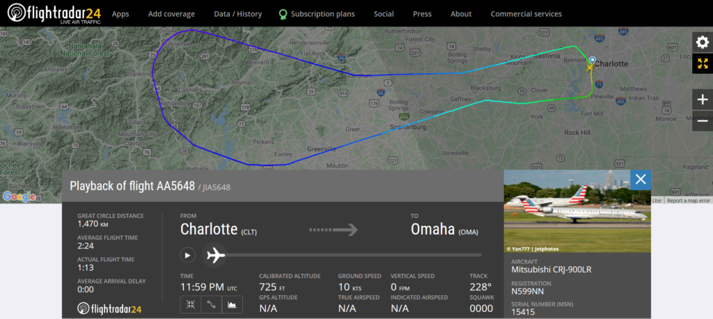 American Airlines flight AA5648 from Charlotte to Omaha returned to Charlotte due to a gear indication