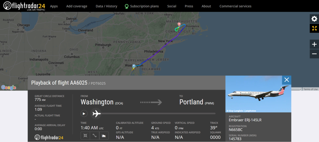 American Airlines flight AA6025 from Washington to Portland diverted to Windsor Locks due to a mechanical issue