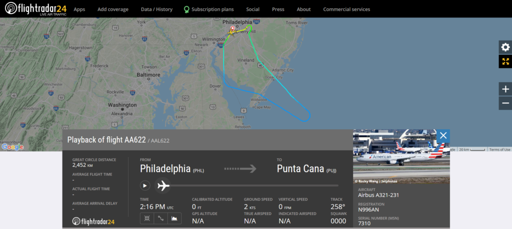 American Airlines flight AA622 from Philadelphia to Punta Cana returned to Philadelphia due to an engine issue