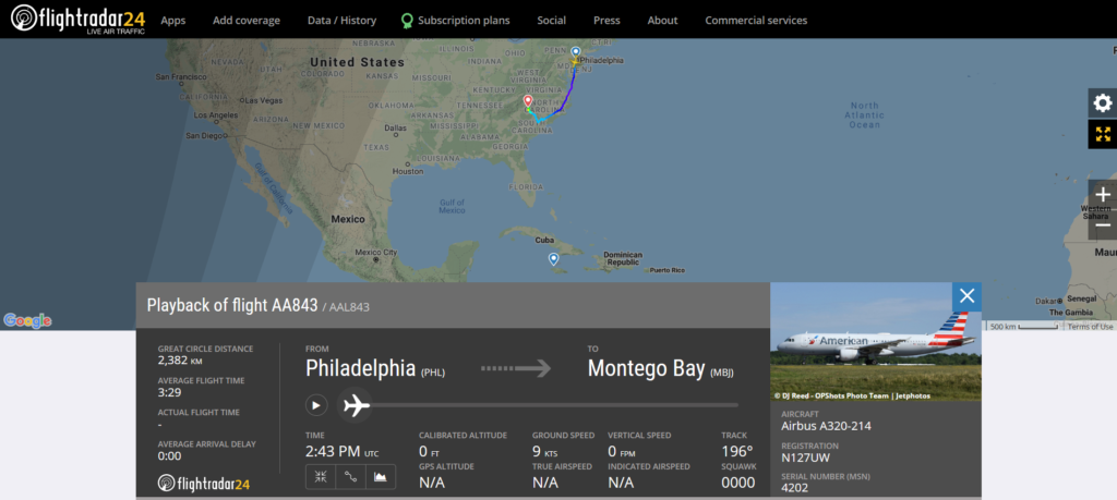 American Airlines flight AA843 from Philadelphia to Montego Bay diverted to Charlotte due to a potential door seal issue