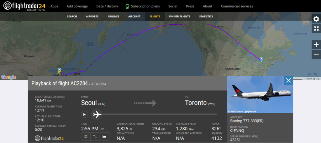 Air Canada flight AC2284 from Seoul to Toronto encountered turbulence