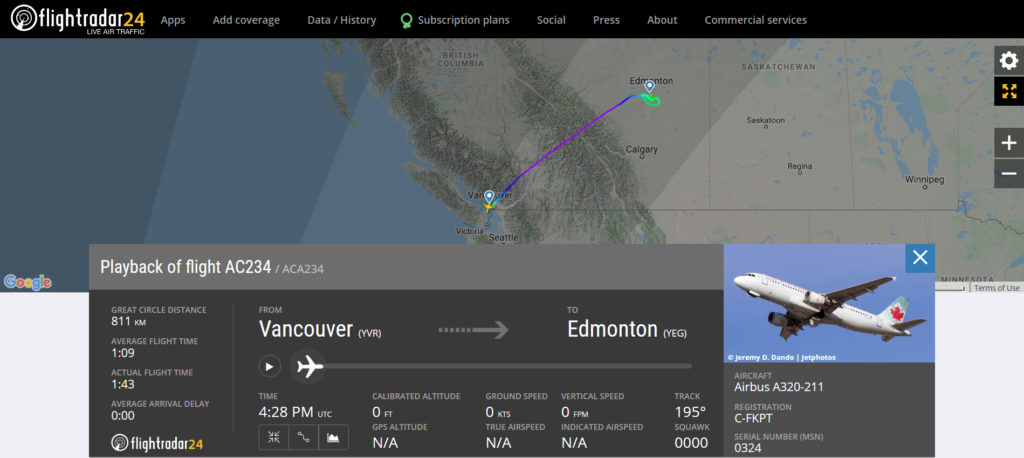 Air Canada flight AC234 from Vancouver to Edmonton experienced a slat issue