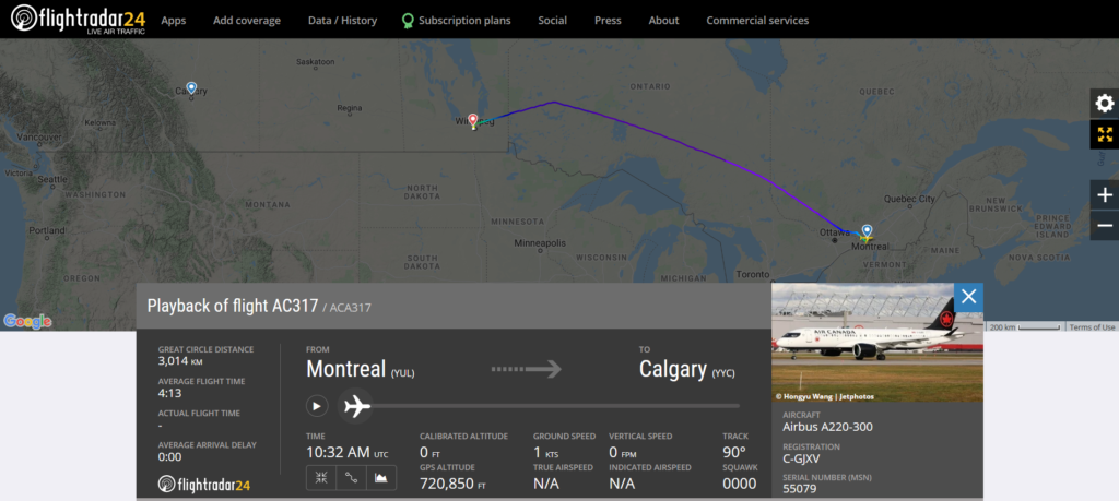 Air Canada flight AC317 from Montreal to Calgary diverted to Winnipeg due to a mechanical issue
