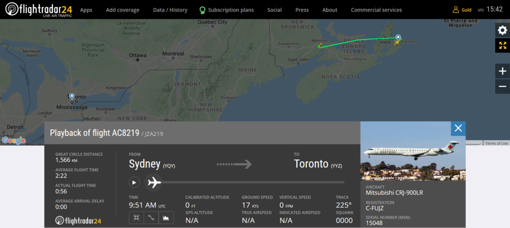 Air Canada flight AC8219 from Sydney to Toronto diverted to Moncton due to a smell in the cockpit