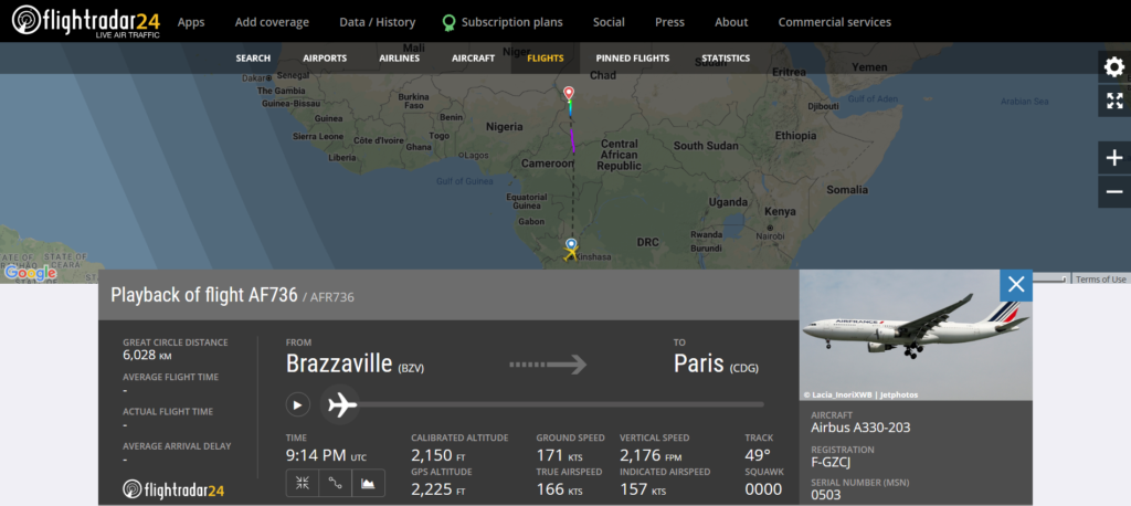 Air France flight AF736 from Brazzaville to Paris declared an emergency (squawk 7700) and diverted to N'Djamena