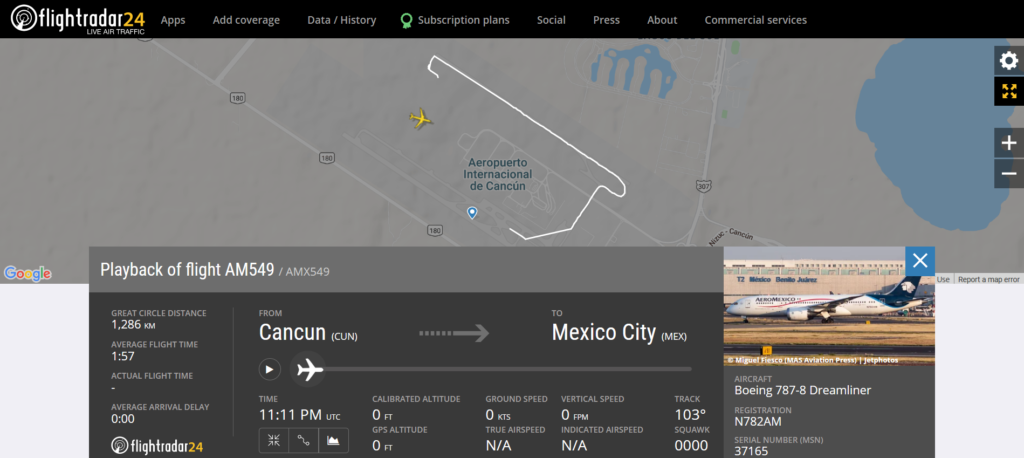 Aeromexico flight AM549 from Cancun to Mexico City rejected takeoff due to bird strike