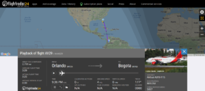 Avianca flight AV29 from Orlando to Bogota suffered a hot air balloon strike