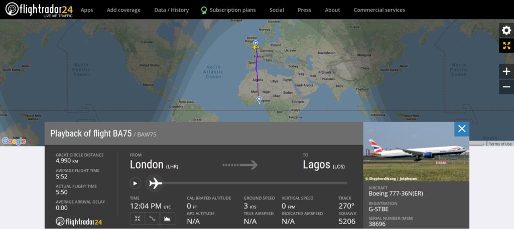 British Airways flight BA75 from London to Lagos suffered bird strikes