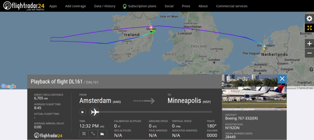 Delta Airlines flight DL161 from Amsterdam to Minneapolis diverted to Dublin due to a medical emergency