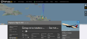 Delta Air Lines flight DL1822 from Santiago de los Caballeros to New York returned to Santiago de los Caballeros due to a maintenance issue