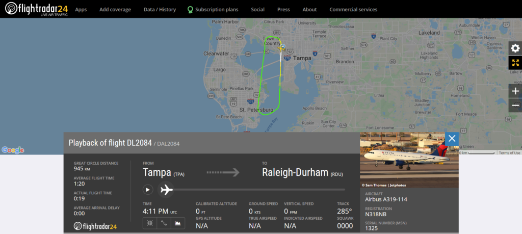 Delta Air Lines flight DL2084 from Tampa to Raleigh-Durham returned to Tampa due to a bird strike