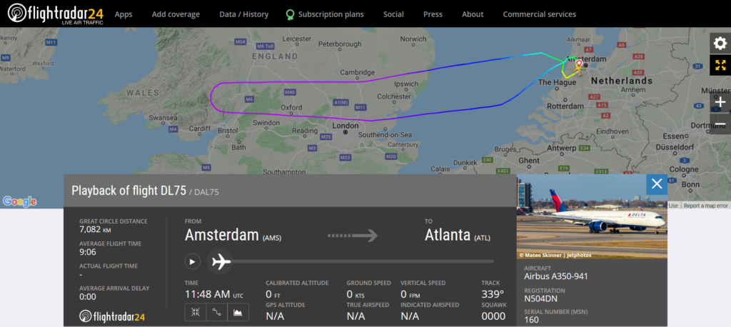Delta Airlines flight DL75 from Amsterdam to Atlanta returned to Amsterdam due to a door seal issue