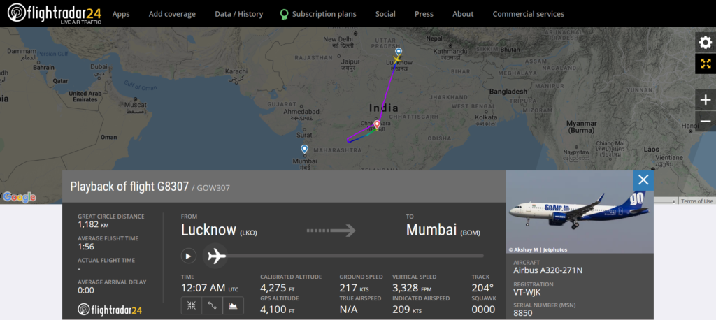 Go Air flight G8307 from Lucknow to Mumbai diverted to Nagpur due to a medical emergency